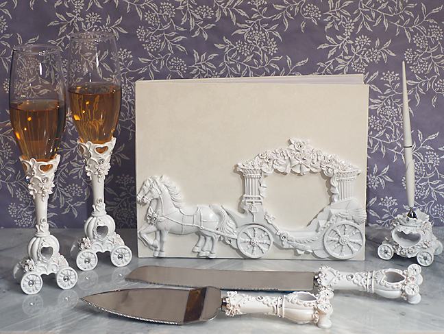 Cassiani Collection's - Enchanted White Wedding Coach 7 Pc Accessory Set