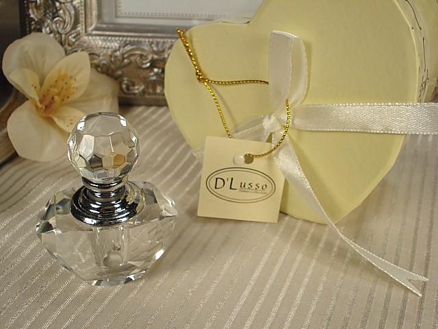 D'Lusso Design's - Mini Crystal Perfume Bottle In Satin Lined Heart Box
