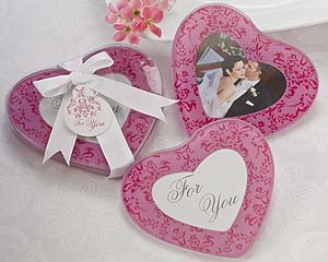 A51028-Pretty in Pink Heart Glass Photo Coasters (Set of 2)