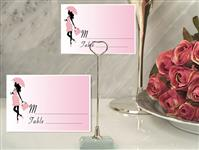 CH-9014-Metal Place Card Holder with Pink Baby Shower Design Card