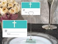 CH-9023-Metal Place Card Holder with Teal Blue Cross Design Card
