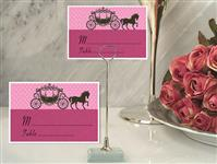 CH-9028-Metal Place Card Holder with Pink Coach Design Card