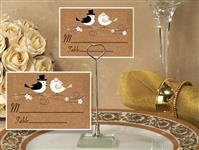 CH-9034-Metal Place Card Holder with Lovebirds Design Card