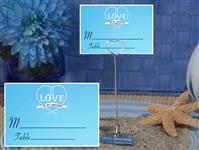 CH-9036-Metal Place Card Holder with Blue Love Is My Anchor Design Card
