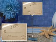 CH-9039-Metal Place Card Holder with Love On The Beach Design Card