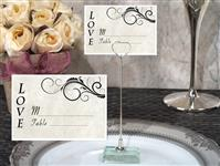 CH-9040-Metal Place Card Holder with Stylish Love Design Card