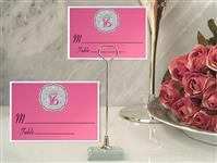 CH-9045-Metal Place Card Holder with Sweet 16 Design Card