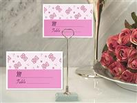 CH-9046-Metal Place Card Holder with Pink Teddy Bear Design Card