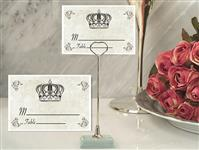 CH-9054-Metal Place Card Holder with Crown Design Card