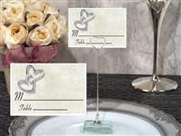 CH-9055-Metal Place Card Holder with Hearts Entwined Design Card