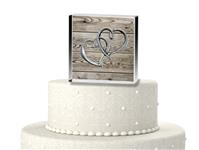 CTS9533-Vintage two hearts become one cake topper
