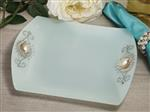 1195-Cassiani signature collection square glass tray with pearl accent