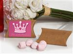 KR75PinkMint-8044-Pink Mint favor in Kraft pillow box Our little princess design